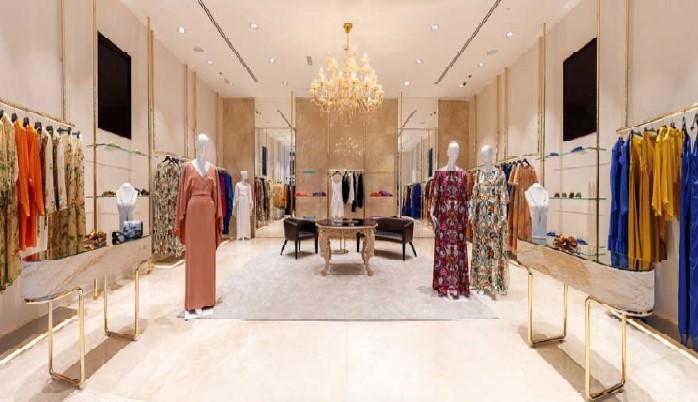 The interior of Alberta Ferretti's flagship store in the Dubai Mall